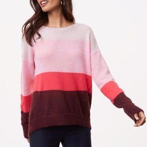 Loft Striped Colorblock Mohair Cozy Sweater M
